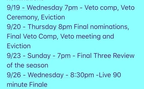 Big Brother 20 final schedule