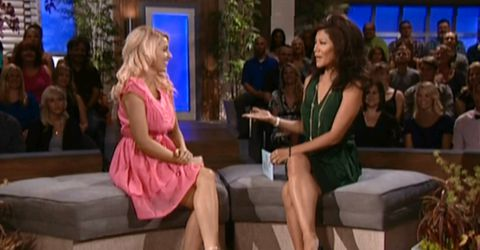 Britney Haynes with Julie Chen on Big Brother 14