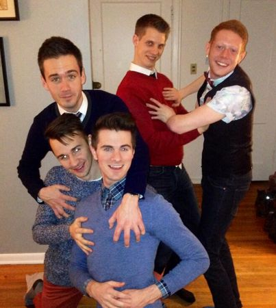 Big Brother winner Andy with friends on New Year's