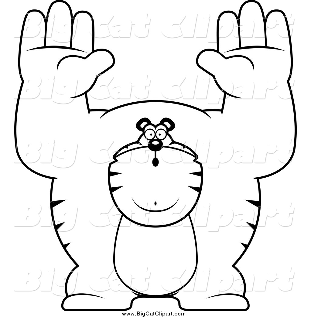 Big Cat Cartoon Vector Clipart Of A Black And White Buff