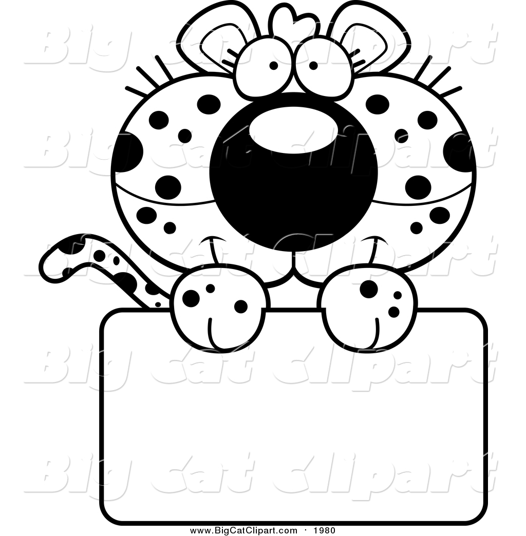 Big Cat Cartoon Vector Clipart Of A Black And White Cute