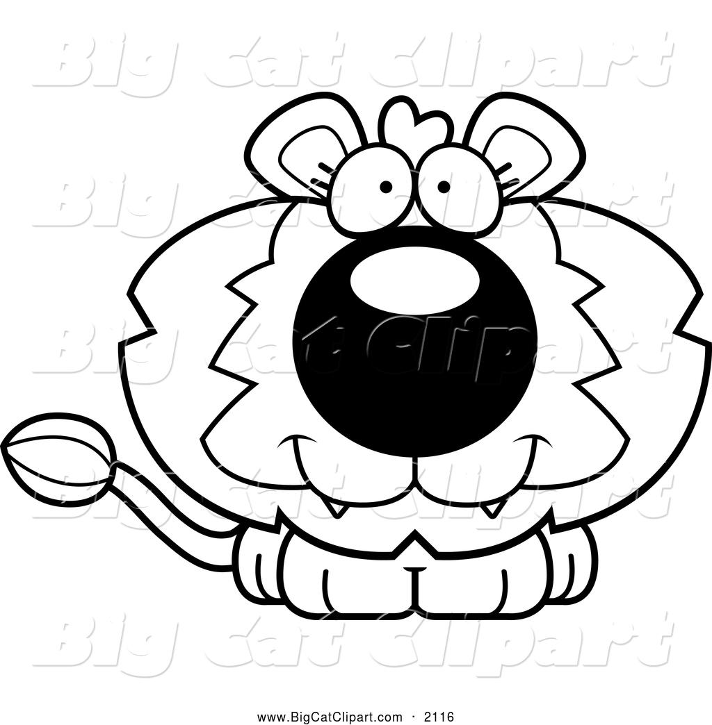 Larger Preview: Big Cat Cartoon Vector Clipart of a Black