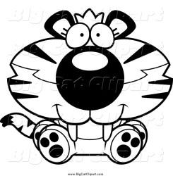 cat clipart cartoon tiger sitting vector happy jaguar cub panda 1952 cory thoman clipartmag