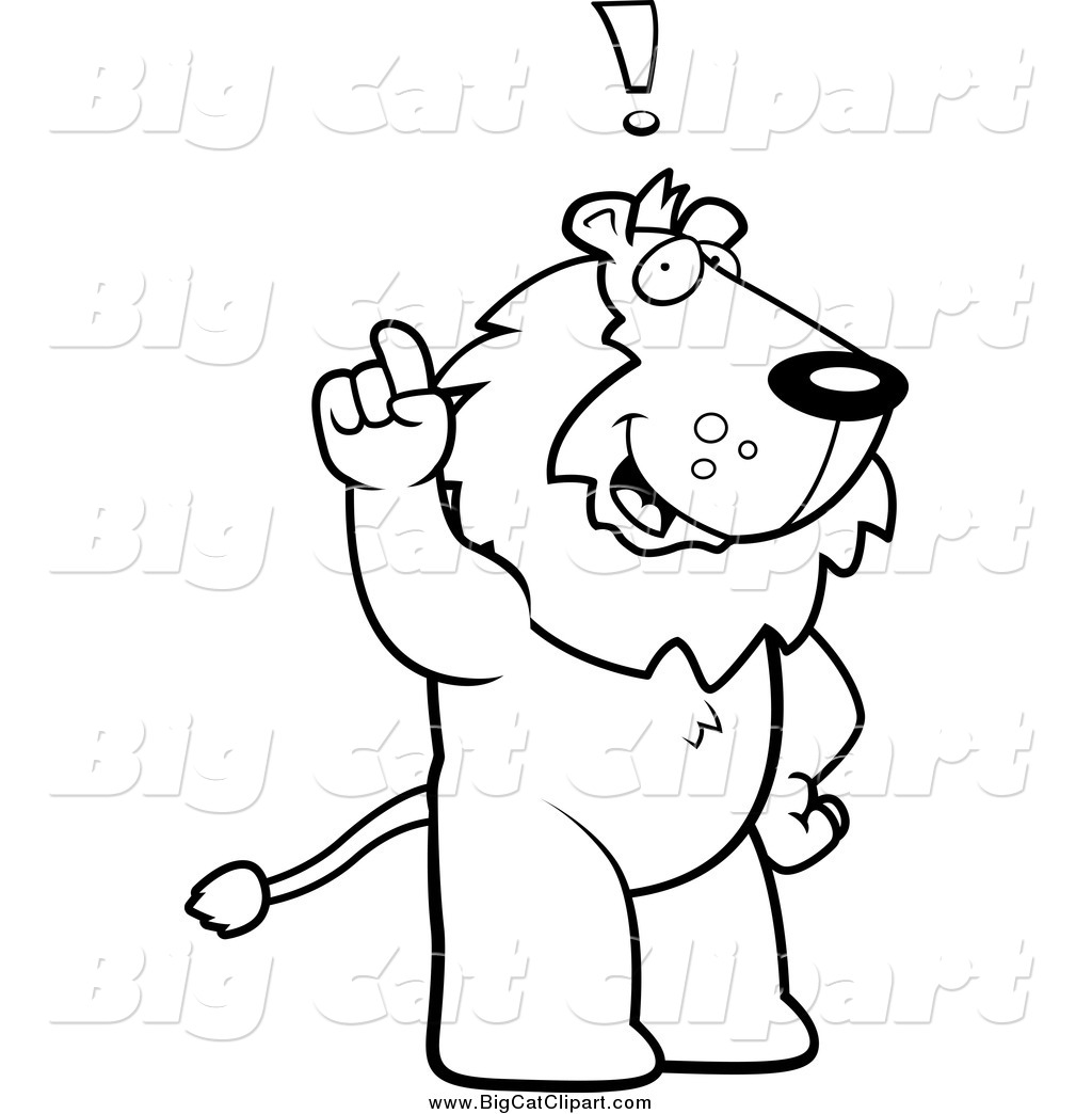 Big Cat Cartoon Vector Clipart Of A Black And White Smart