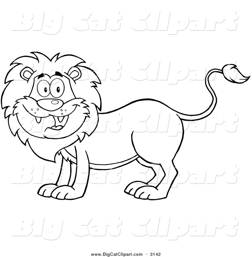 Big Cat Cartoon Vector Clipart Of A Lineart Happy Male