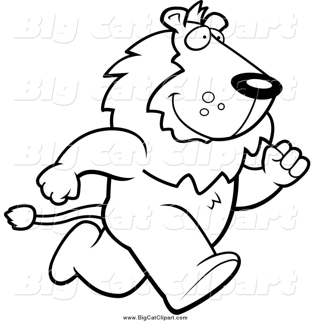 Big Cat Cartoon Vector Clipart Of A Lineart Lion Running