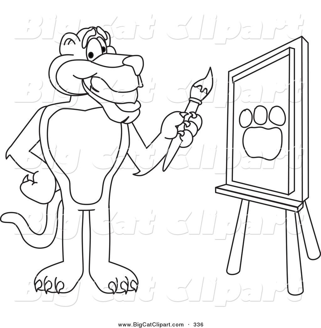 Big Cat Cartoon Vector Clipart Of A Outline Design Of A