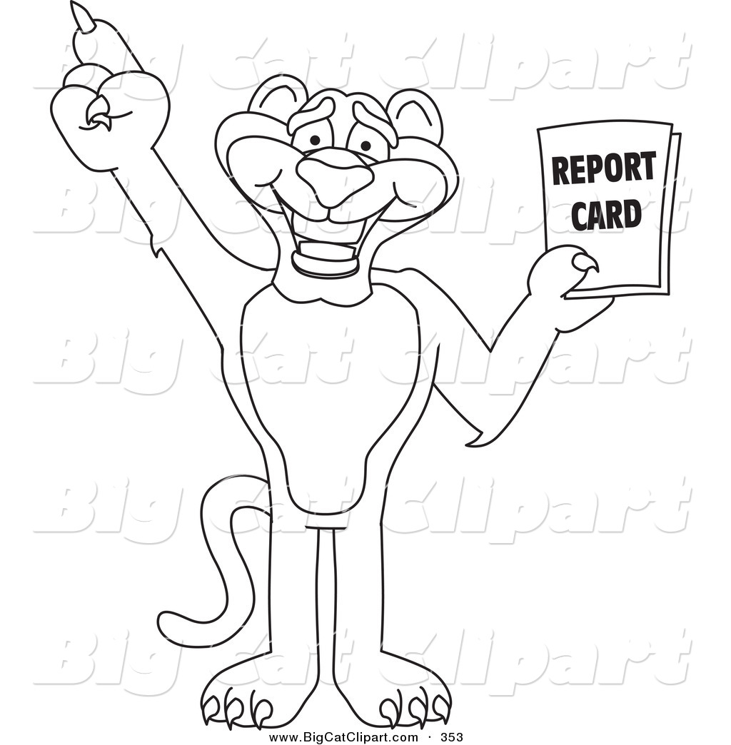 Big Cat Cartoon Vector Clipart Of An Outline Design Of A Panther Character Mascot Holding A