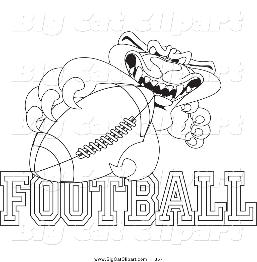 Big Cat Cartoon Vector Clipart Of An Outline Design Of A Panther Character Mascot With Football
