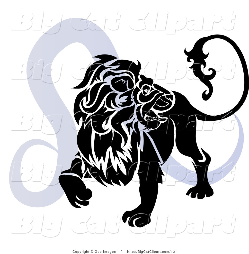 hight resolution of big cat clipart of a silhouetted roaring lion over a blue leo astrological sign of the zodiac