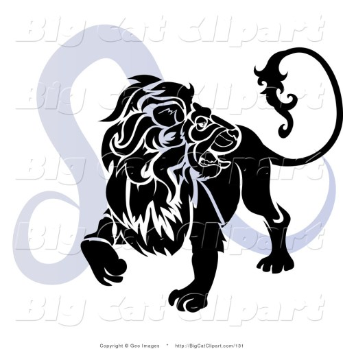 small resolution of big cat clipart of a silhouetted roaring lion over a blue leo astrological sign of the zodiac