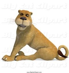 big cat vector clipart of a 3d happy lioness sitting [ 1024 x 1044 Pixel ]