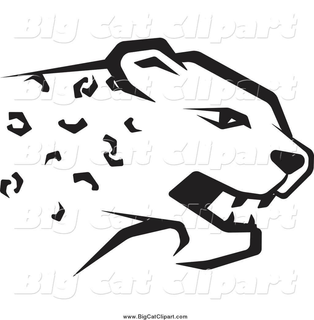 Big Cat Vector Clipart Of A Black And White Cheetah Head