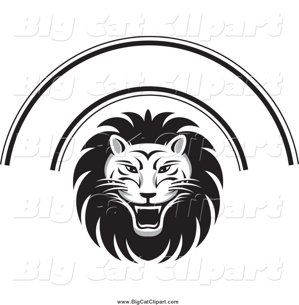 Royalty Free Black And White Stock Big Cat Designs