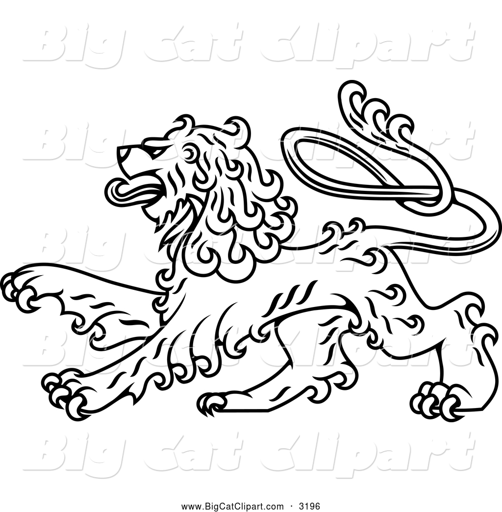 Big Cat Vector Clipart Of A Black And White Royal Heraldic