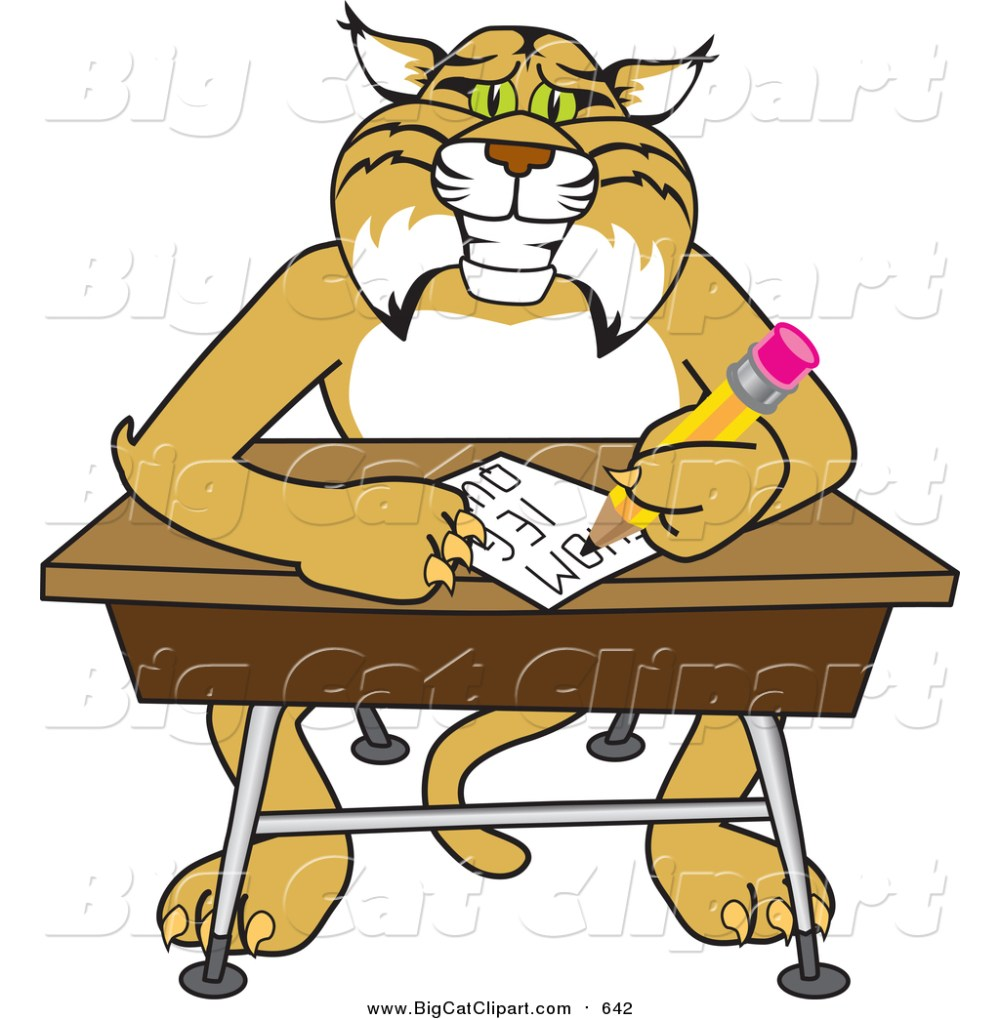medium resolution of big cat vector clipart of a bobcat character sitting at a desk