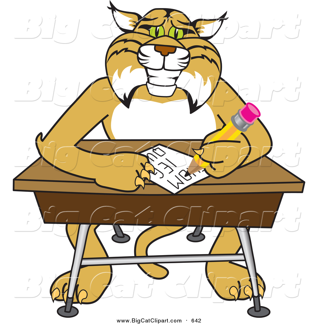 hight resolution of big cat vector clipart of a bobcat character sitting at a desk