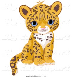 big cat vector clipart of a cute blue eyed jaguar cub sitting [ 1024 x 1044 Pixel ]