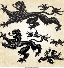 big cat vector clipart of aheraldic lions over grunge [ 1024 x 1044 Pixel ]