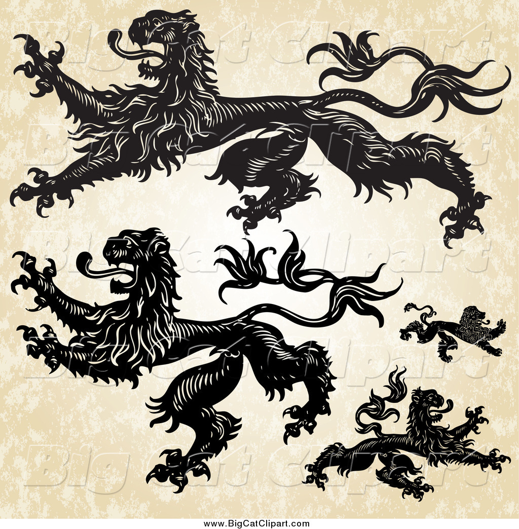 hight resolution of big cat vector clipart of aheraldic lions over grunge