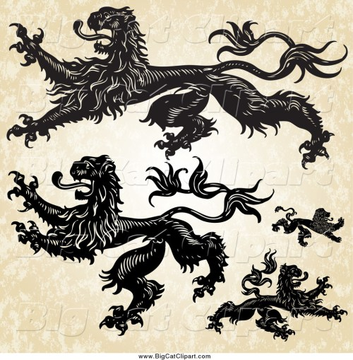 small resolution of big cat vector clipart of aheraldic lions over grunge