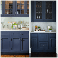 Dark Blue Cabinets In Bathroom
