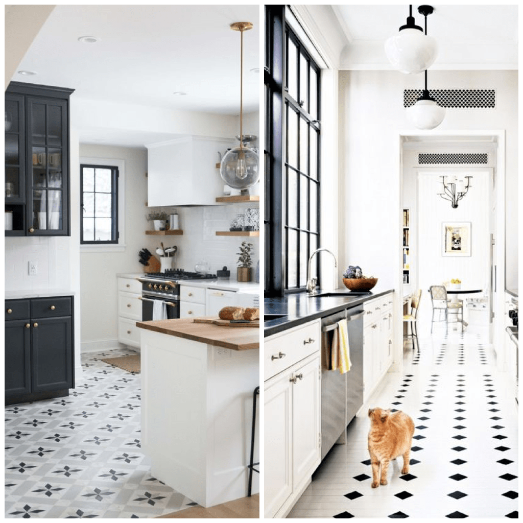black and white tile kitchen value city tables 22 inspirational pictures of patterned in the right now this is a beauty classic floor tiles with small diamonds pair perfectly paned windows light fixtures