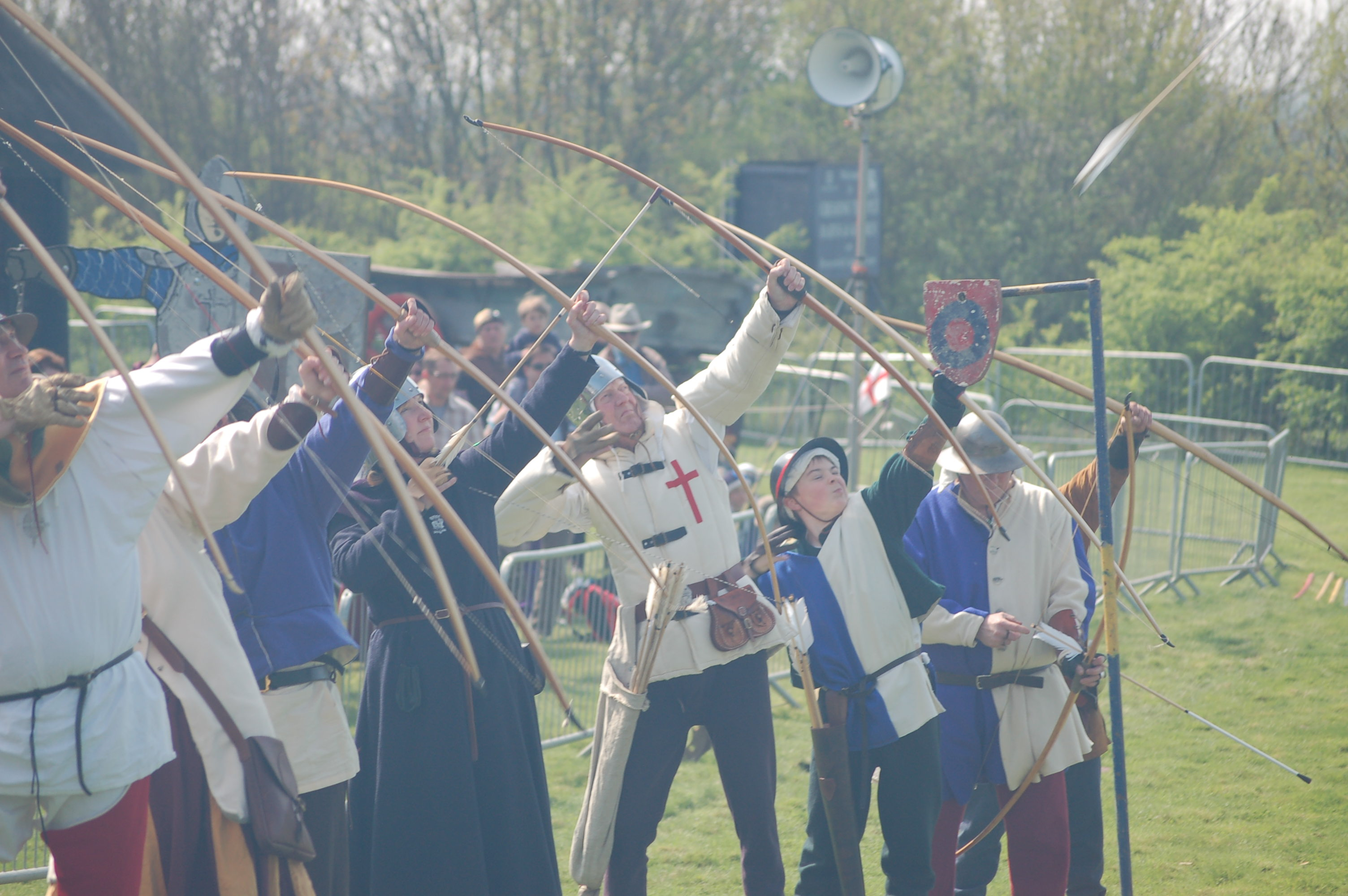 Lancastrian archers in the re-enactment by the Medieval Siege Society