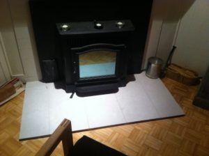 tile surround wood stove