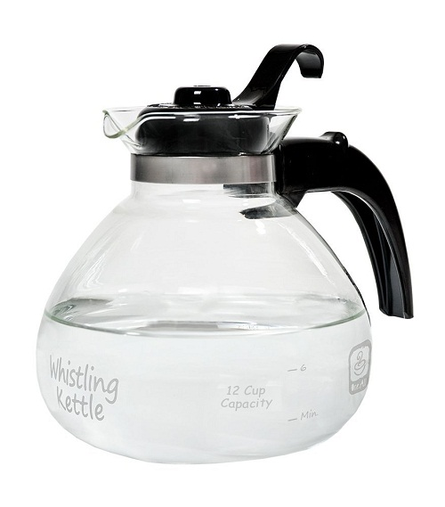 Medelco 12-Cup Glass Whistling Kettle