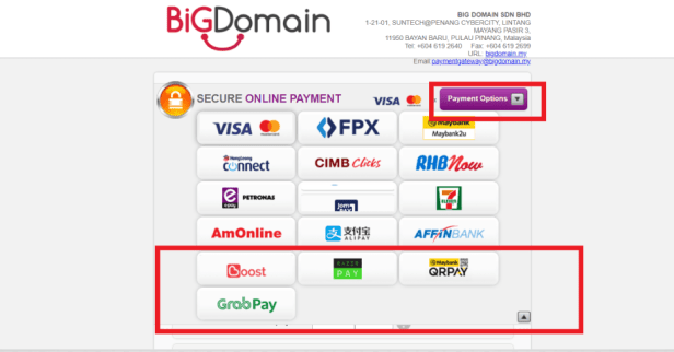 Added GrayPay , QRPay & Razer Payment Options to BigDomain 7