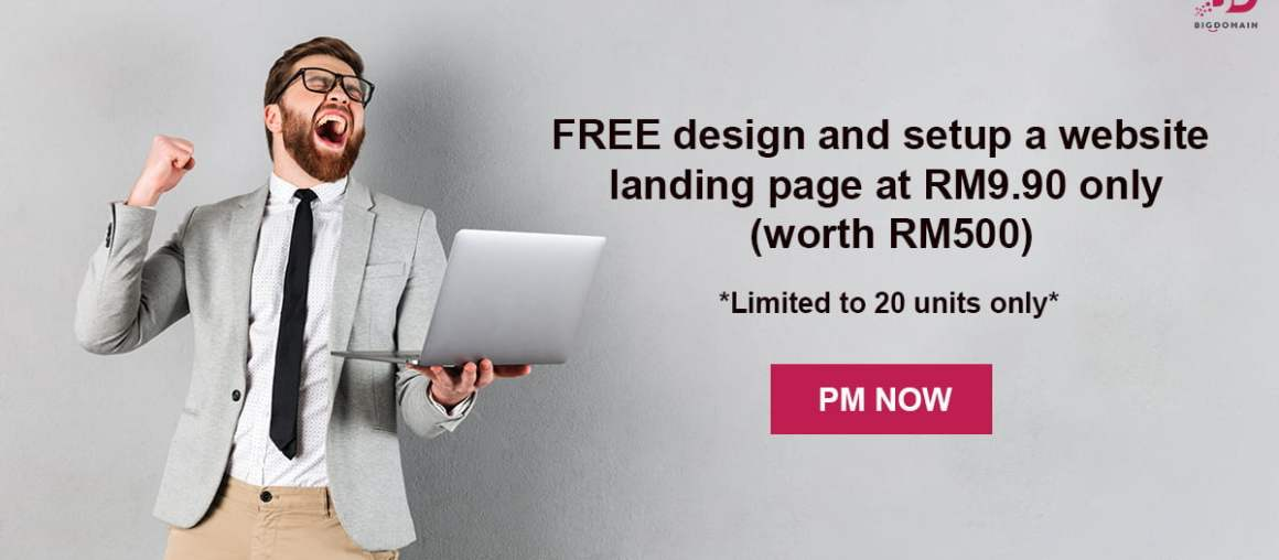 Setup your website landing page at RM9.90 only