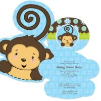 Blue Monkey Boy - Shaped Baby Shower Invitations ...