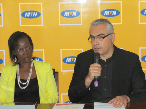 Picture Caption 1: MTN CEO Mazen Mroué and KCCA Executive Director Mrs. Jennifer Musisi address the Media at the Kampala Public Library.