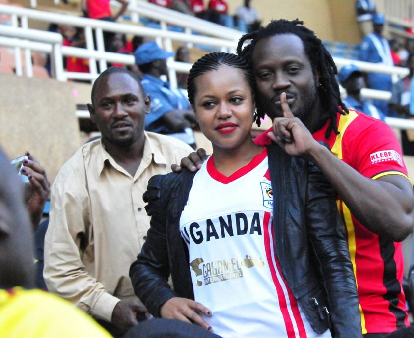 Bebe Cool and his wife Zuena watch a Uganda Cranes game at Namboole