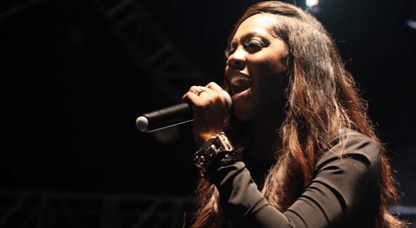 Tiwa Savage performing during the Airtel Women's day concert.
