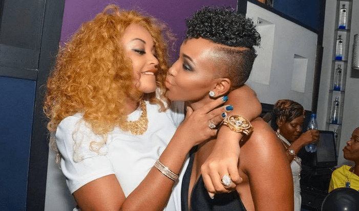 Zari and Huddah almost swap saliva