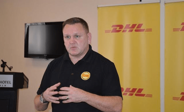 Charles Brewer, Managing Director of DHL Express Sub-Saharan Africa addresses guests at a press conference.
