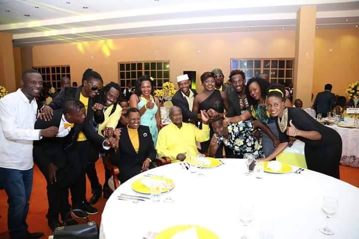 Musicians pose for a group photo with the President at Tubonga Nawe dinner