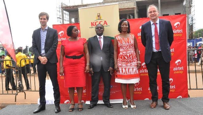 Officials from Airtel Uganda and KCCA led by MD Tom Gutjahr and ED Jennifer Musisi pose for a photo after officially launching e-City payment platform.