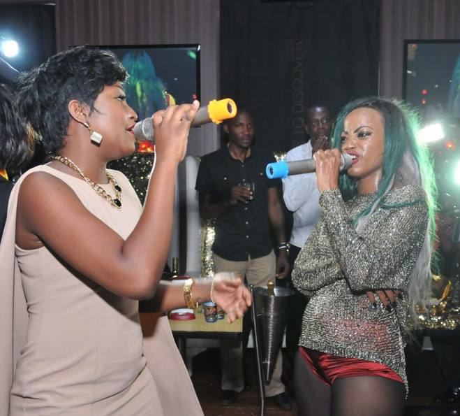 Sheebah and Ntale performing at the Rich Gang party
