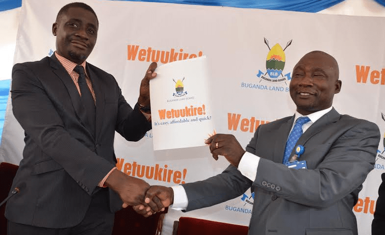 (L-R) Buganda Land Board Head of Legal Barnabas Ndawula and Buganda Land Board Managing Director Kyewalabye Male officially launch Wetuukire! campaign during the press conference held at Masengere on 9th February 2016.