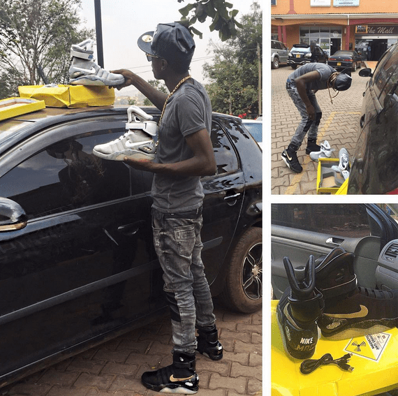 Chameleone shows his new Nike Air Mag shoes