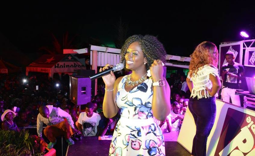 winnie Nwagi performing at the Purple Party in Mbarara