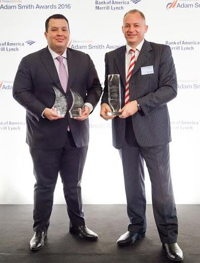 Left to right: Adam Boukadida, Etihad Airways' Deputy Treasurer; Ricky Thirion, Etihad Airways' Group Treasurer - at the Treasury yesterday Adam Smith Awards in London.
