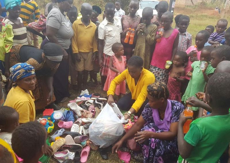Iryn Namubiru donates shoes
