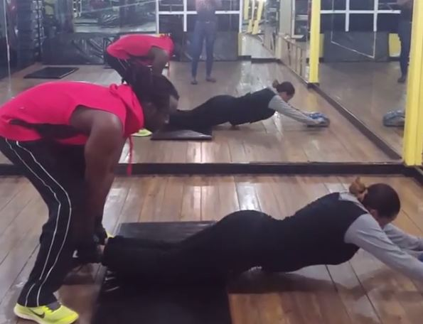 Bebe Cool and wife Zuena work out together