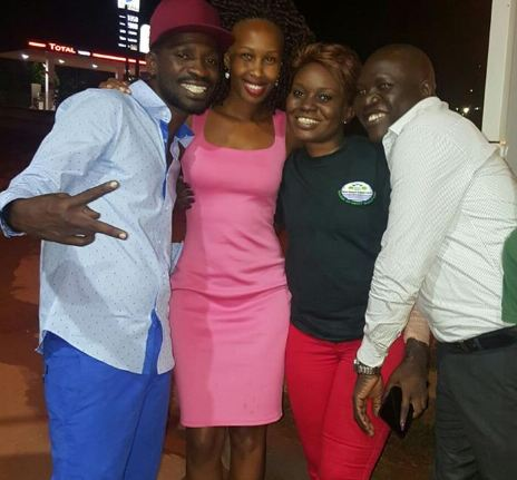 Jackie Chandiru hangs with ex-husband Caleb Alaka, Bobi Wine and Barbie.