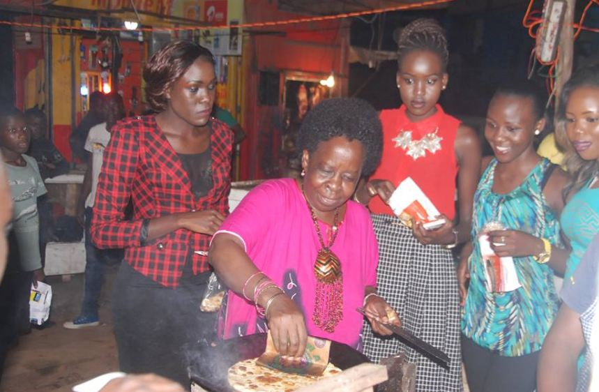 former Minister of Tourism Hon. Maria Mutagamba making rolex