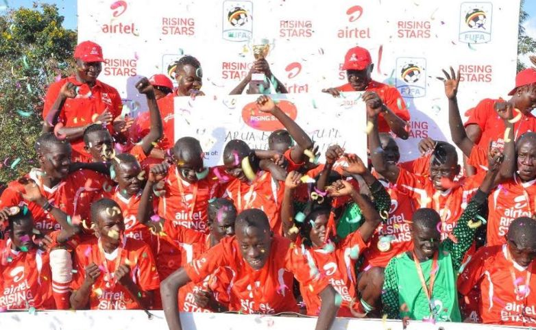 Arua District boys jubilate after they won the West Nile regional finals